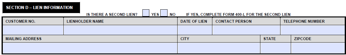 Section D of Form 400 Lien Information